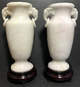 Pair of Chinese lavender jade elephant vases,c.1965