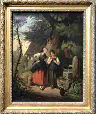 19th century painting of figures by a well, European.