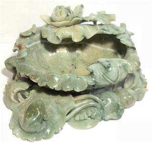 Chinese jade carving, leaf and frog, c1965