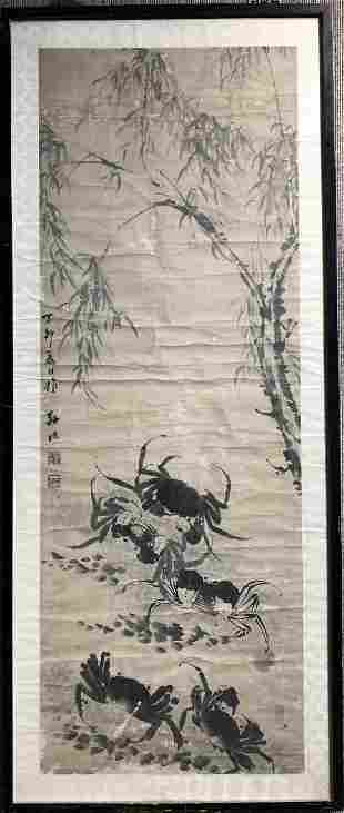 Chinese scroll painting of crabs, c.1950, losses