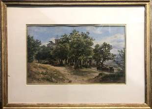 Watercolor of village by Friedrich Loos (Austrian 19th)