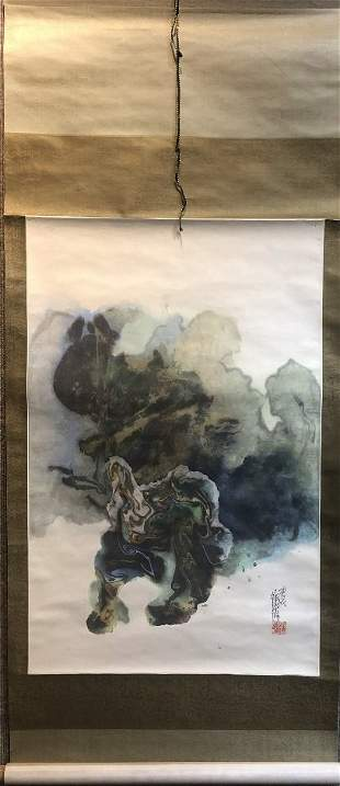 Modern Chinese scroll painting by Xu Shuxiu