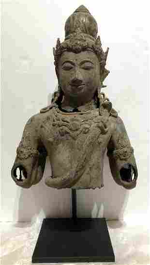 Buddha fragment, metal, age unknown,with stand