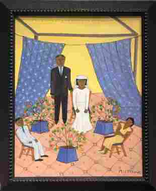 Haitian family painting by Micius Stephane, 20th cen