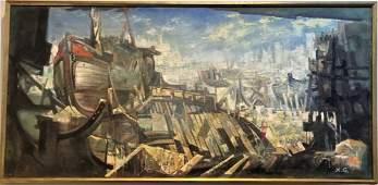 Painting by Xavier Gonzalez of shipyard c1970