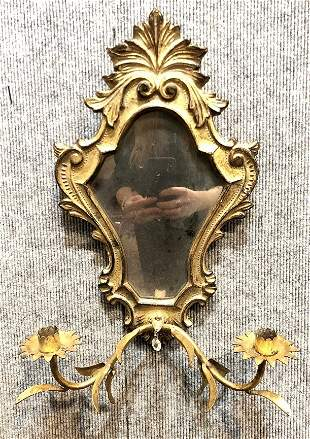 20th cent gilt wood mirror with candle holders