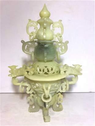 Chinese hardstone covered censer c1970