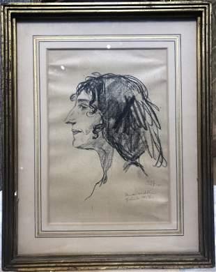 Drawing of Juliette Greco by Emil Orlik