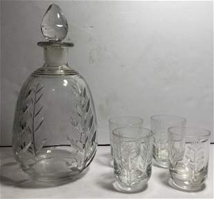 Crystal decanter and four glasses