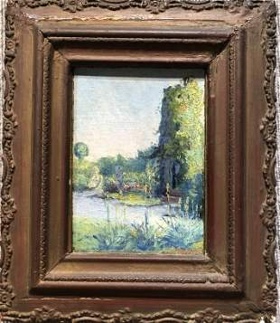 Painting of garden in France by Harriette Bowdoin