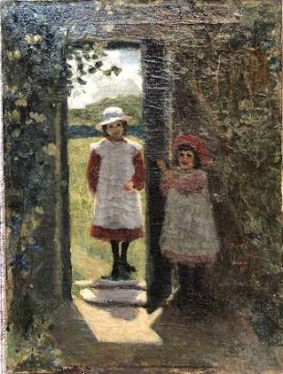 Painting of two girls by doorway, c.1900