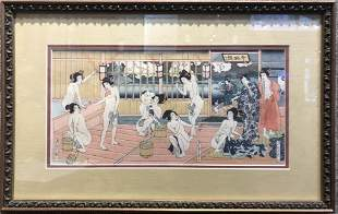 """Geisha baths"" by Kunisada 2nd"