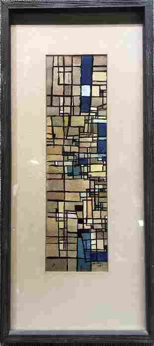 Gouache abstraction under glass by Hal Polin,1958