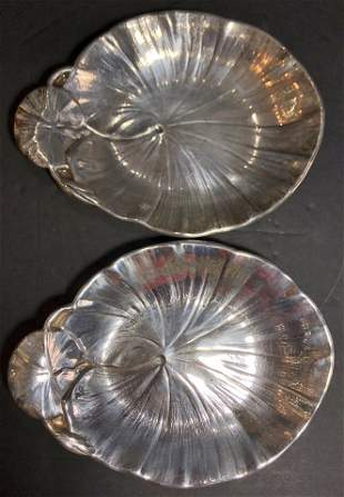 Pair of sterling leaf dishes, American, c1930, 9.4t.oz