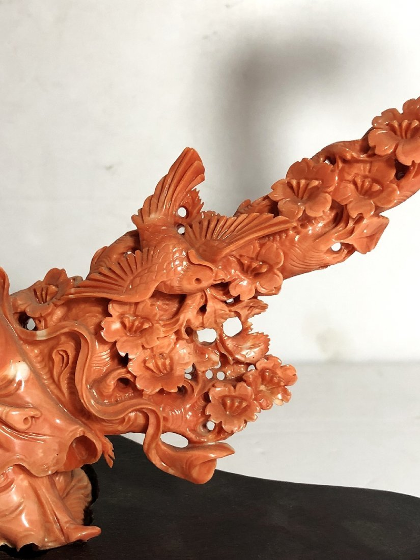Chinese carved coral maiden, circa 1965 - 3