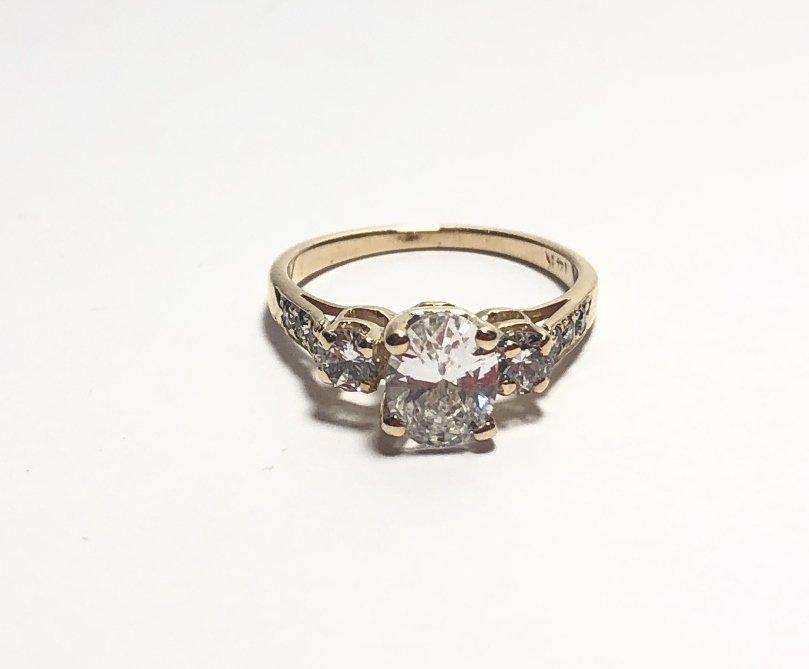 14k  73ct diamond ring E color GIA, 1.3 dwts