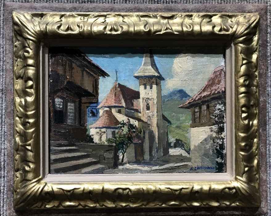 Painting of small town by A.Zimmerman