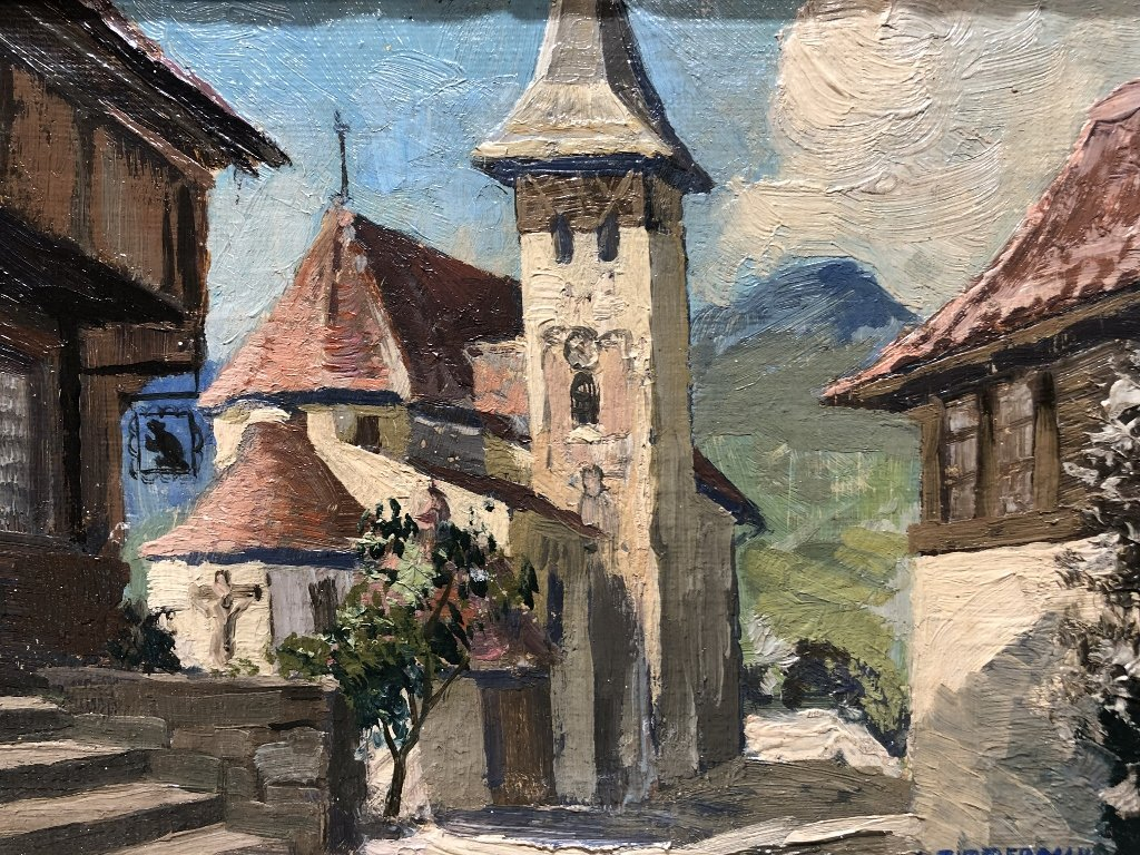 Painting of small town by A.Zimmerman - 2