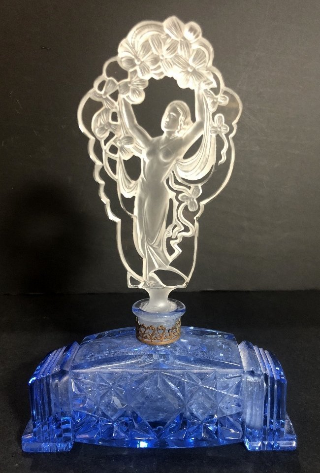 Perfume bottle, Art Deco woman stopper - 6
