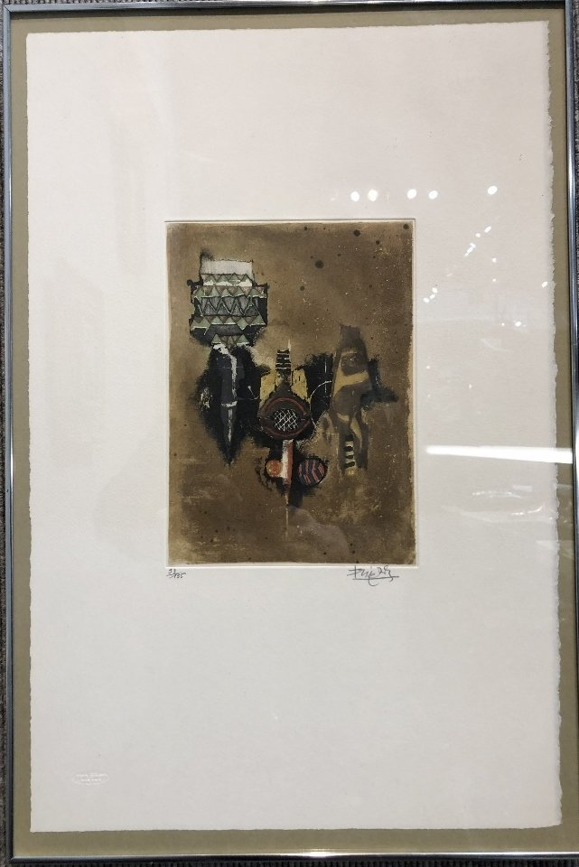 Abstract color etching by Johnny Friedlaender