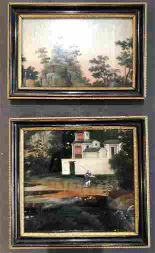 Two Chinese reverse glass paintings