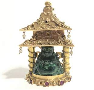 18k ruby Buddha brooch, Italian, c.1950, 13.9 dwts