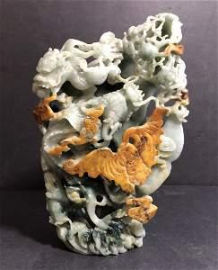 Chinese jade carving, dragons and bats, c.1965
