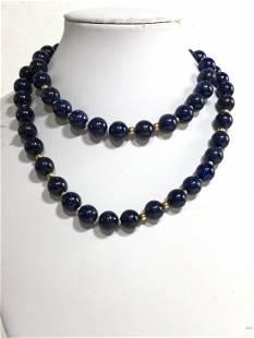 14k and lapis lazuli bead necklace,c.1965