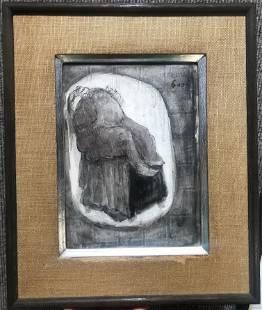 Watercolor of man in chair, Jose Luis Cuevas, 1961
