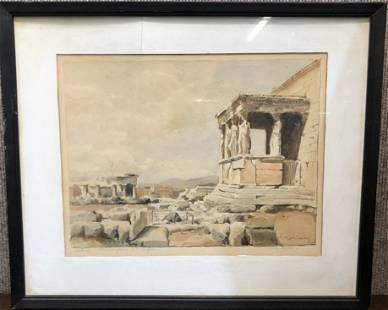 19th century watercolor of Acropolis, signed