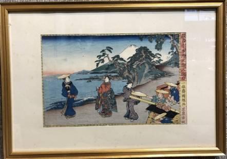 "Japanese woodblock, ""Mt.Fuji Hats"", I.Kuniteru"