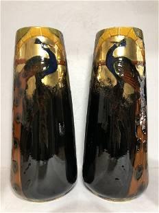 Pair of ceramic Art Nouveau vases with peacocks