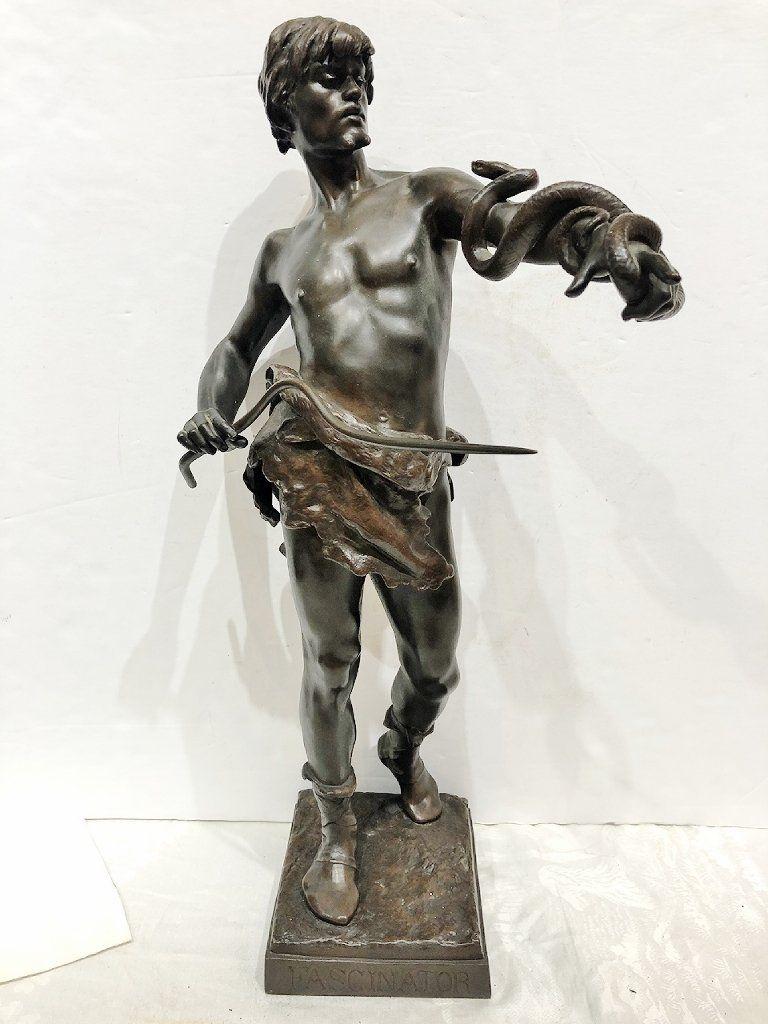 """Bronze """"Fascinator"""" snake man, Eugene Marioton,c.1900"""
