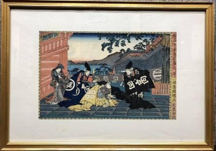 Jap woodblock Meeting Emperor IKuniteru