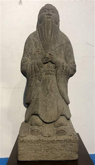 """Chinese stone figure of a Sage, wood stand 19"""""""