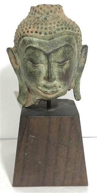 """Thailand bronze Buddha head fragment,c.1900. 3.5"""""""