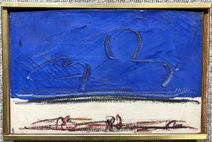 """Abstract ptg, signed illegibly, maybe Heller. 14"""" x 9"""""""
