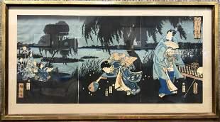 "Japanese triptych, c.1900, Hiroshige & Kunisada. 29.5"""
