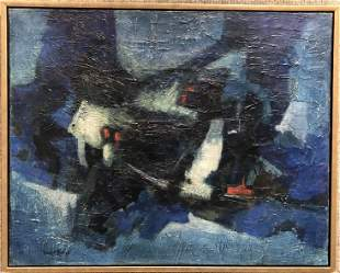 Abstract painting by Francis Bott, repair to center