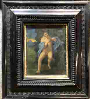 """Old master style ptg, fig in woods.19thc. 6"""" x 7.5"""""""