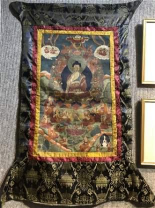 """Tibetan Thangka, c.1940. 25.75"""" x 16"""""""