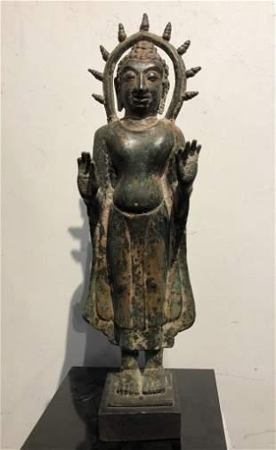 "Bronze Buddha, probably Southeast Asian.21""high"
