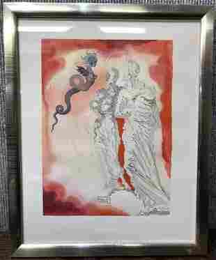 """Salvador Dali litho, Divine Comedy,Medusa.12.5"""" x 9.75"""""""