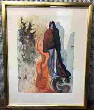 "Dali litho, Divine Comedy, walk by trees. 12.5 "" x 10"""