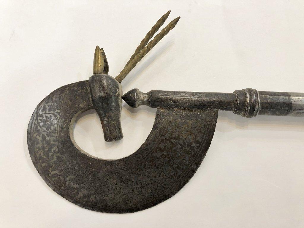 "Steel/iron weapon w/antelope, Indo-Persian,19thc. 22"" - 6"
