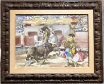"Gouache of bullfight , artist unknown 15.5"" x 21"""