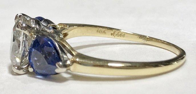 One 2.06 carat diamond & sapphire ring,GIA report - 3