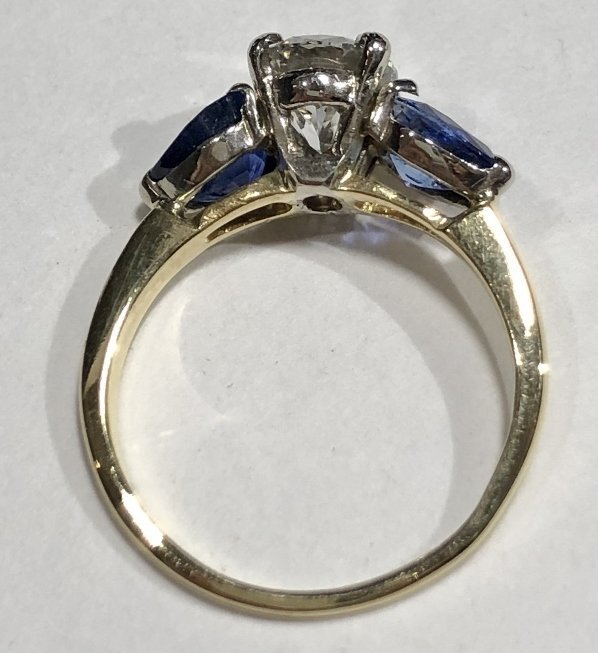 One 2.06 carat diamond & sapphire ring,GIA report - 7