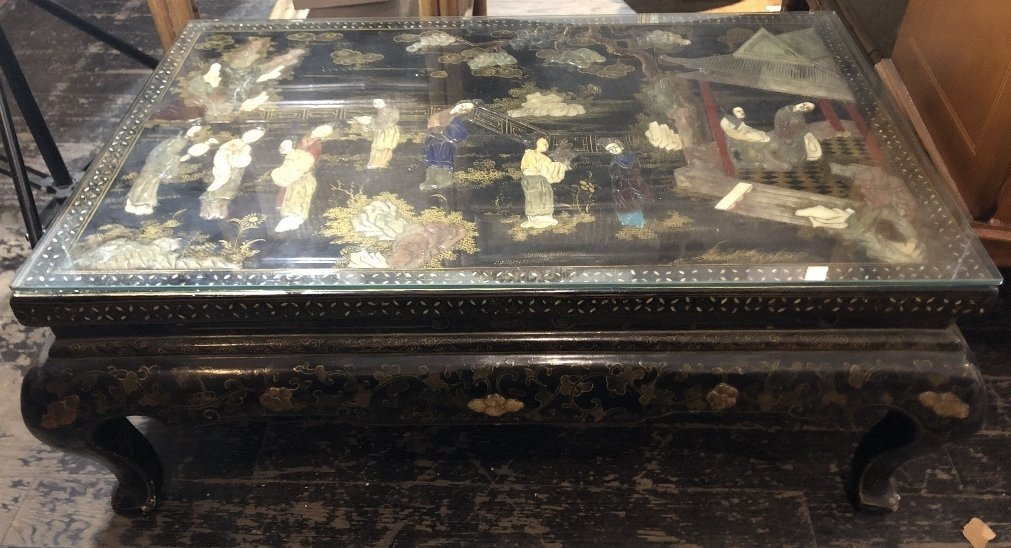 Chinese coffee table with inlaid stones, circa 1965
