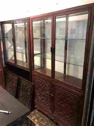 Pair of Chinese wood showcases